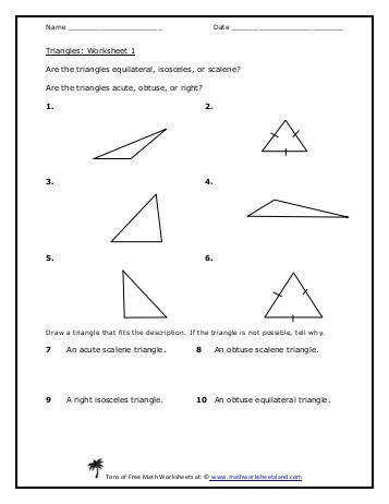 Classifying Triangles 5 Pack Math Worksheets Land