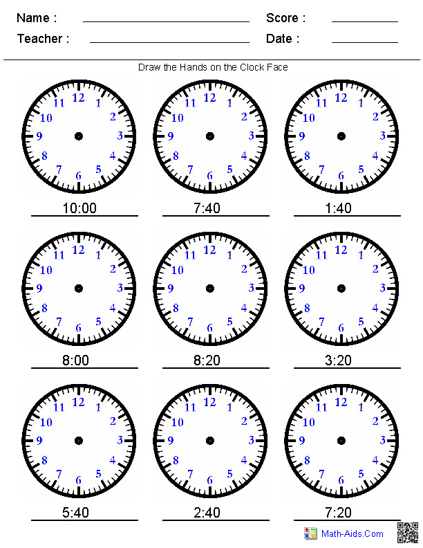 Draw the Hands on the Clock You Pick the Times