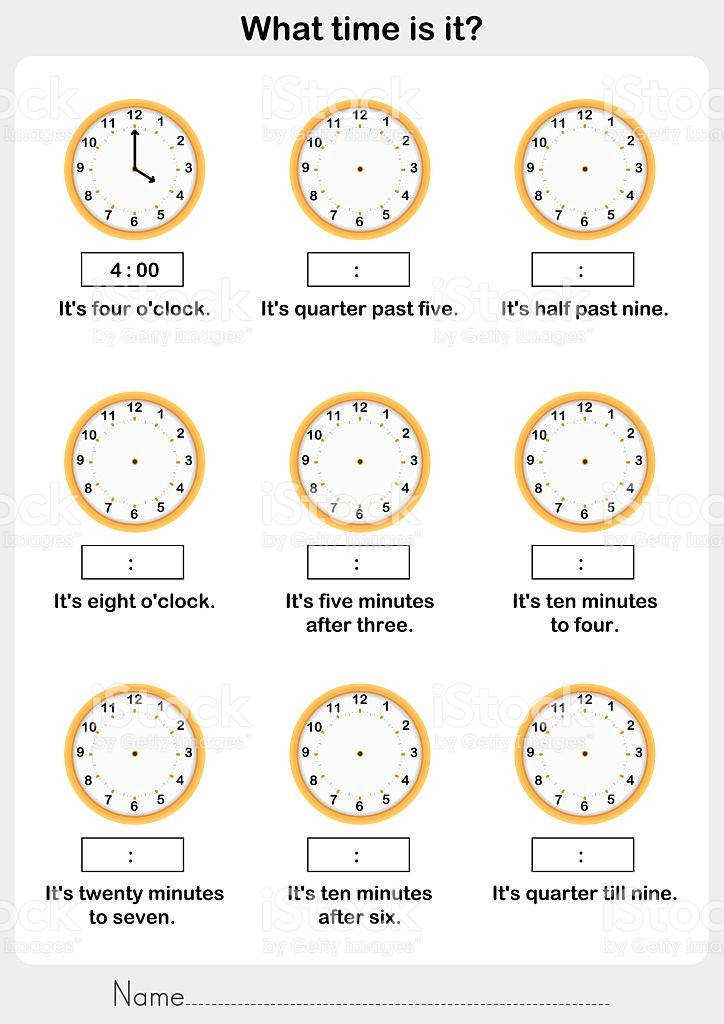 Telling time worksheet write the clockwise on the clock royalty free stock vector art