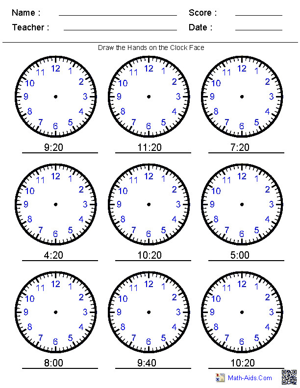 Draw the Hands on the Clock Worksheets