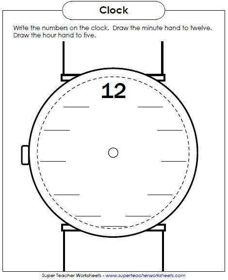 New Worksheet Write the numbers on the clock face Maybe a partner s name on