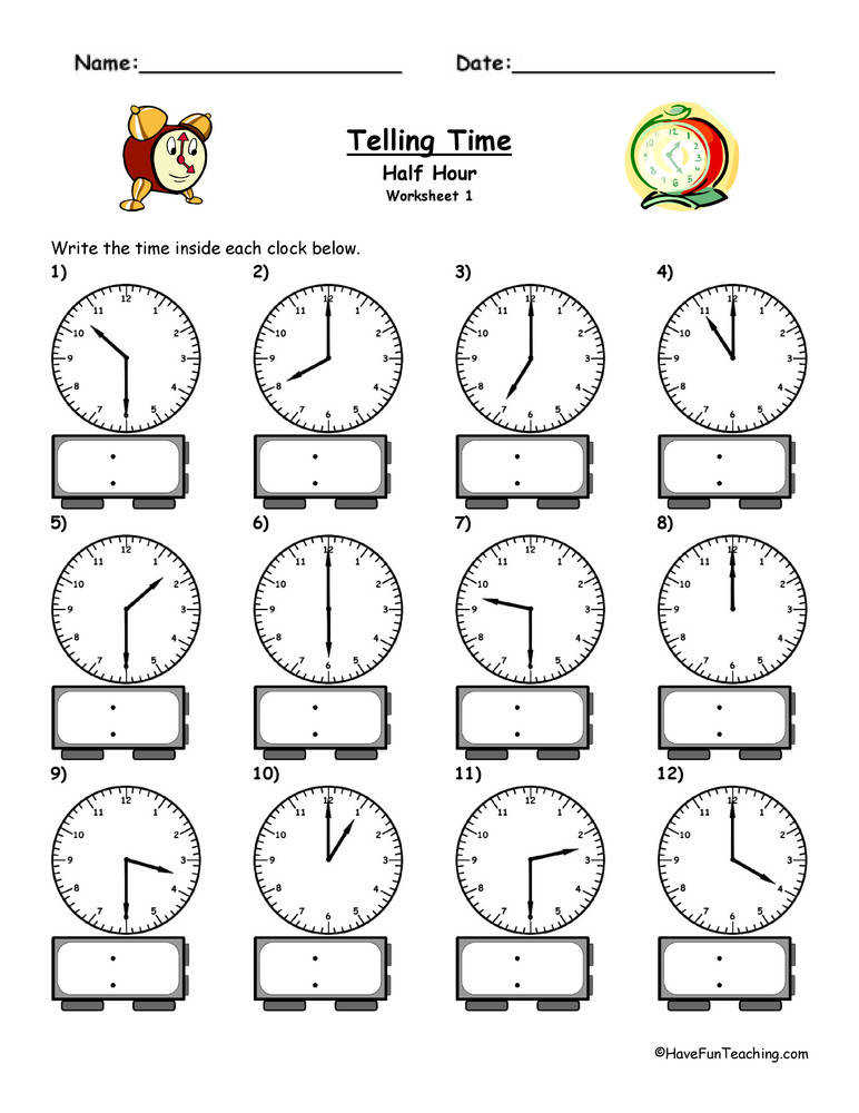 Telling Time Worksheet – To The Half Hour