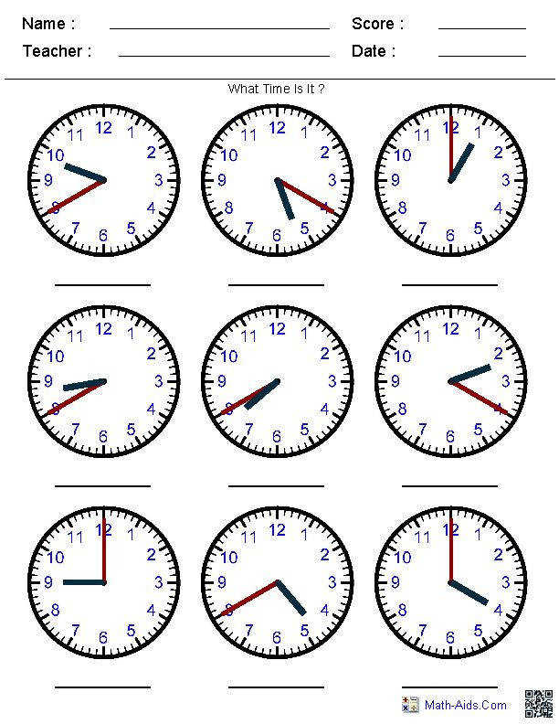 pre k clocks worksheets
