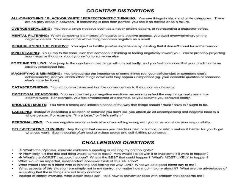 Cognitive Restructuring Worksheets pdf Docdroid