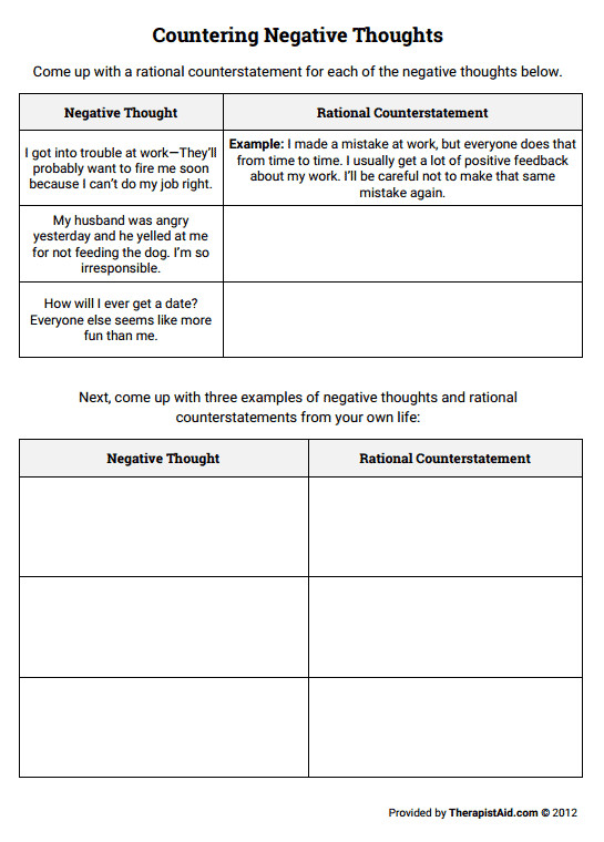 Countering Negative Thoughts Thought Log Preview