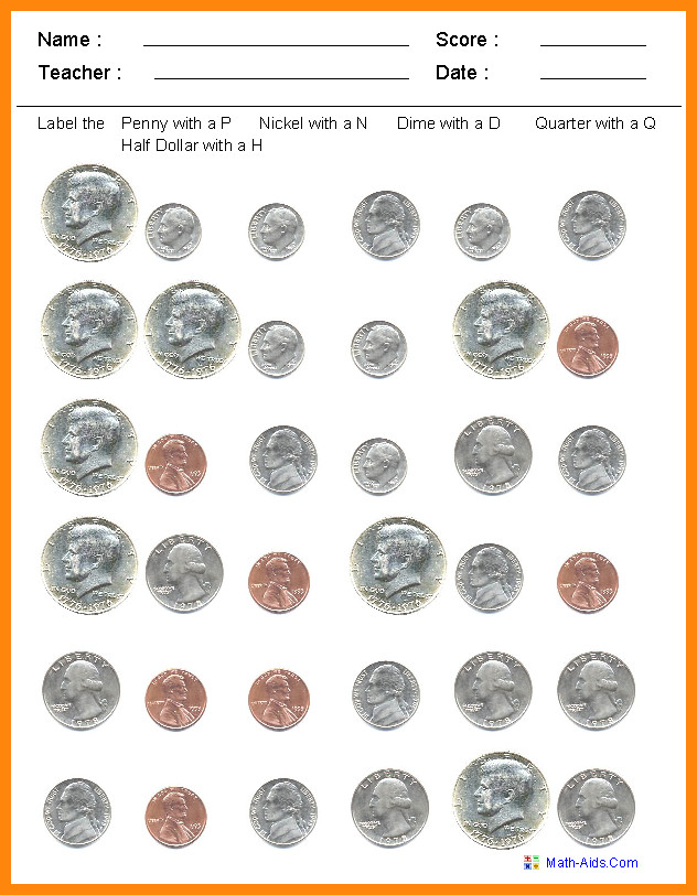 coin identification worksheet Identify the Coins