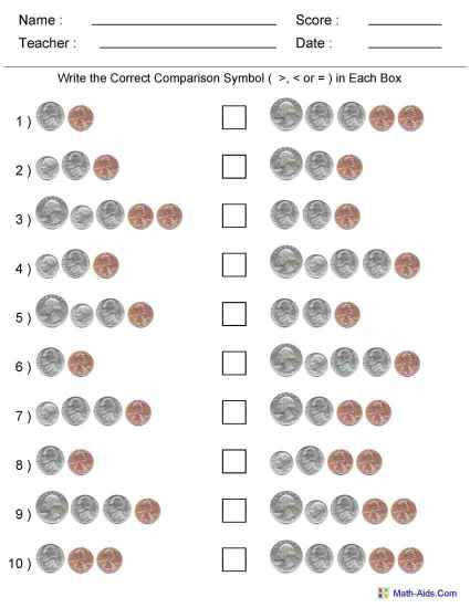 paring Two Groups of Coins Worksheets