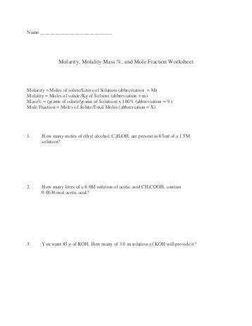 Molarity Molality Worksheet Phoenixpayday