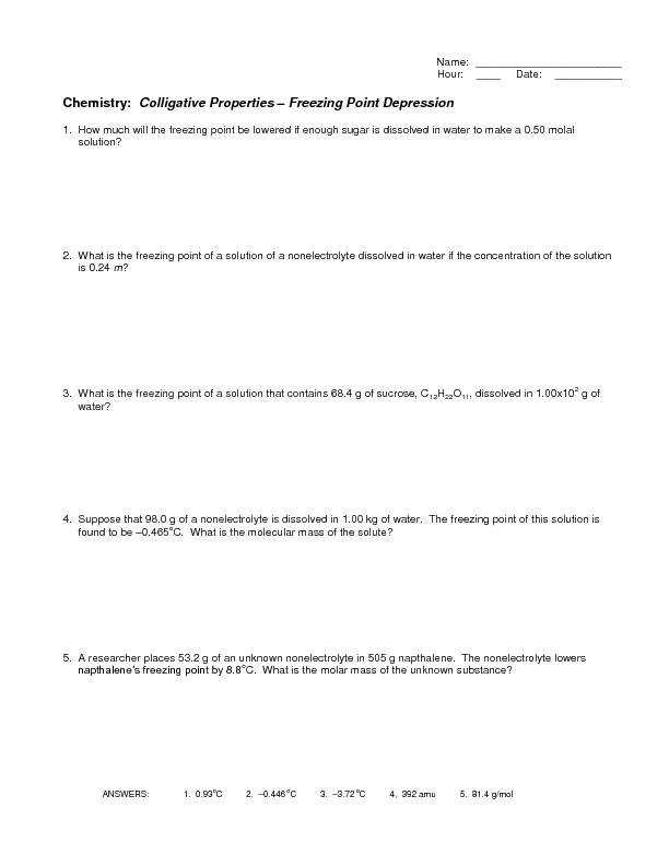 Colligative Properties Freezing Point Depression 10th Higher Ed Worksheet