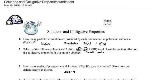 Gavin Gutowsky Chemistry Blog Solutions and Colligative properties worksheet