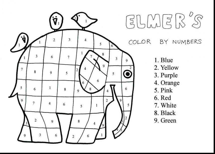 Coloring Pages Remarkable The Elephant Color With Number Coloring Pages And Hard Difficult By Math