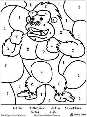 Color By Number Gorilla DownloadFREE Worksheet