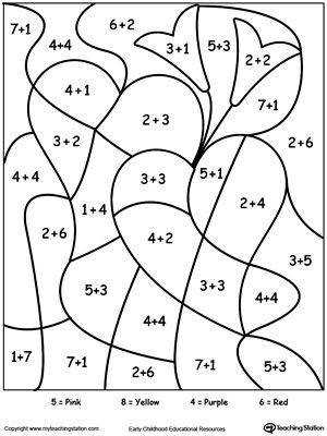 FREE Color By Number Hearts Worksheet Printable color by number coloring