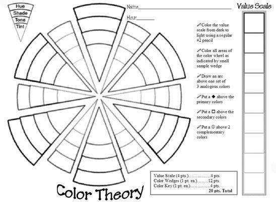 Color Wheel worksheet I created while student teaching at Riverside High in WI