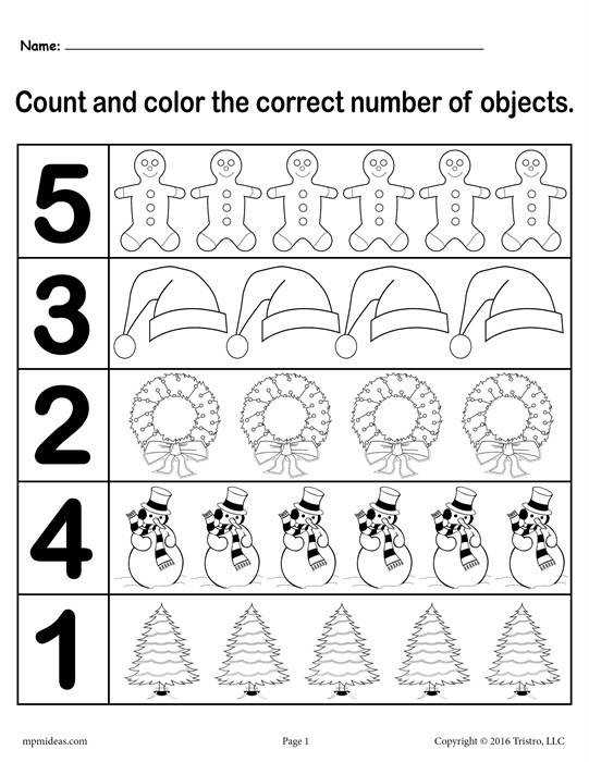 Christmas Count and Color Worksheet Numbers 1 5