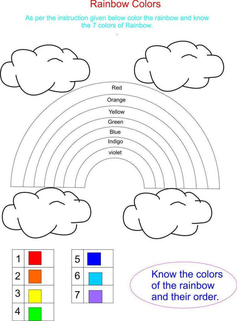 Best s Rainbow Color Worksheets For Kindergarten Free