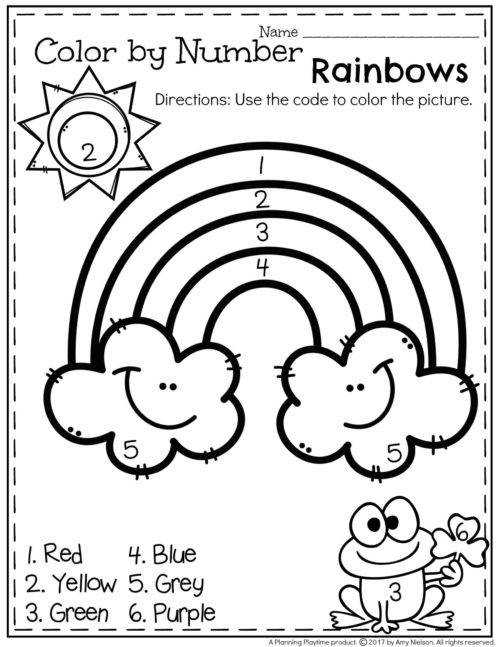 FREE Preschool Worksheet Color by Number Spring Rainbow