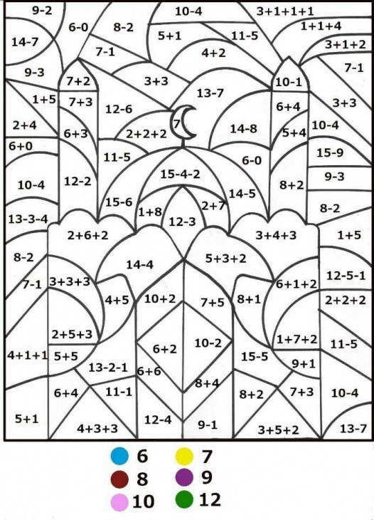 Free Printable Math Worksheet And Coloring Page About Mosque And Islam