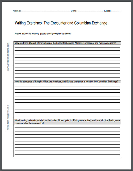 Encounter and Columbian Exchange Writing Exercises 1 Why are there different interpretations of the