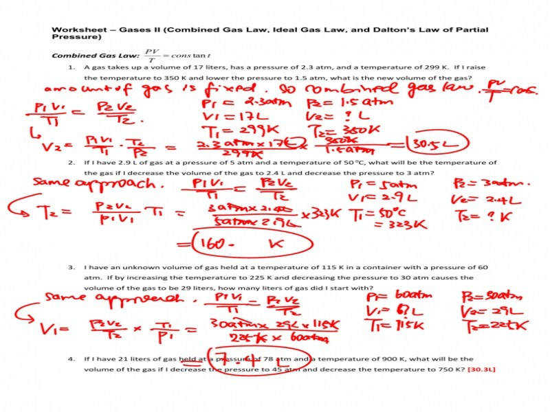 Worksheet Gas Laws Ii Answers