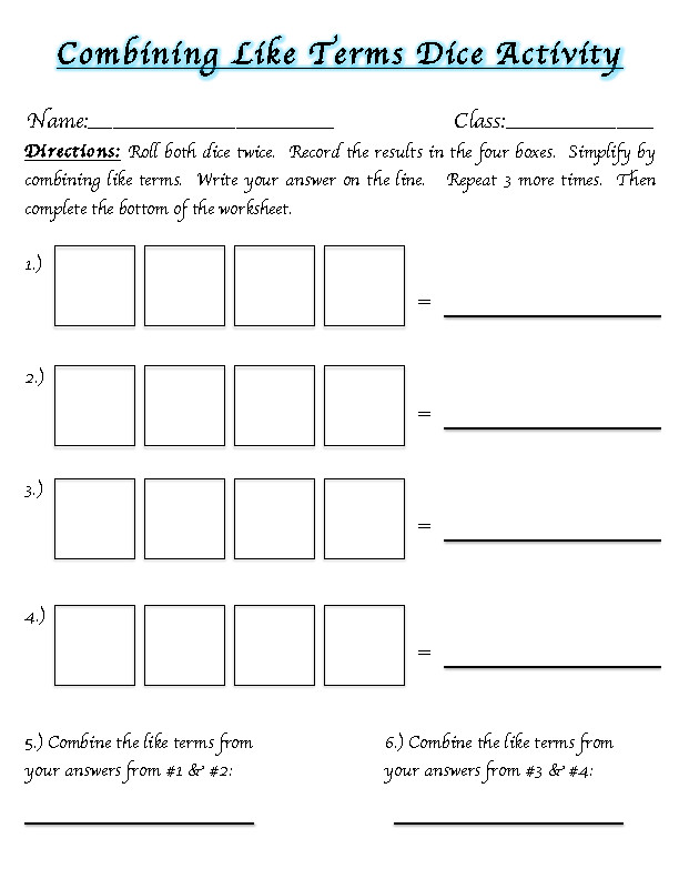 Like Terms Worksheet Version 1 Answer Key