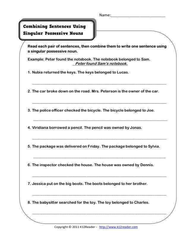 bining Sentences Using Singular Possessive Nouns 2nd 3rd Grade Worksheet