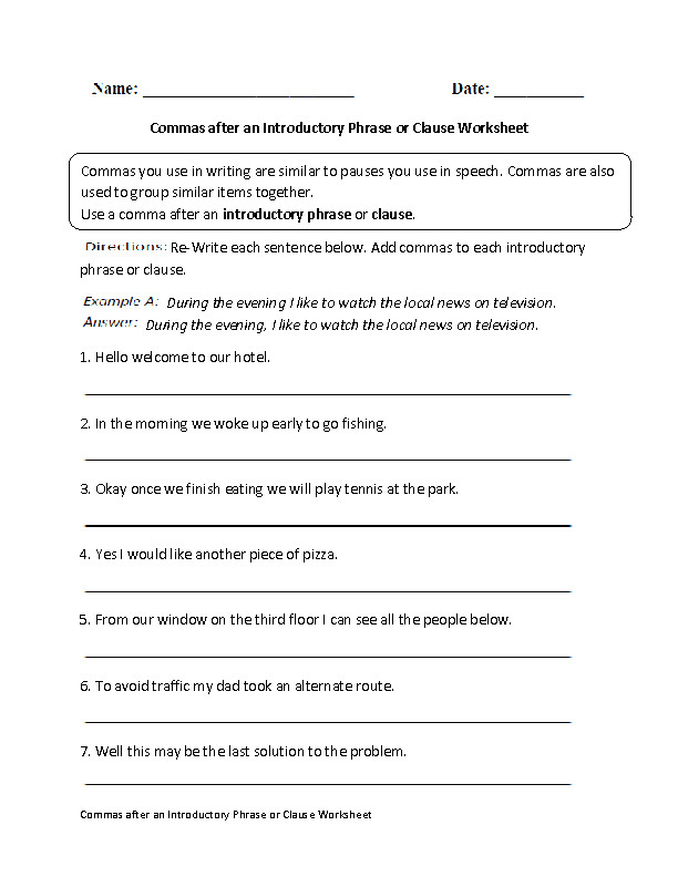 mas after Introductory Phrase or Clause Worksheet