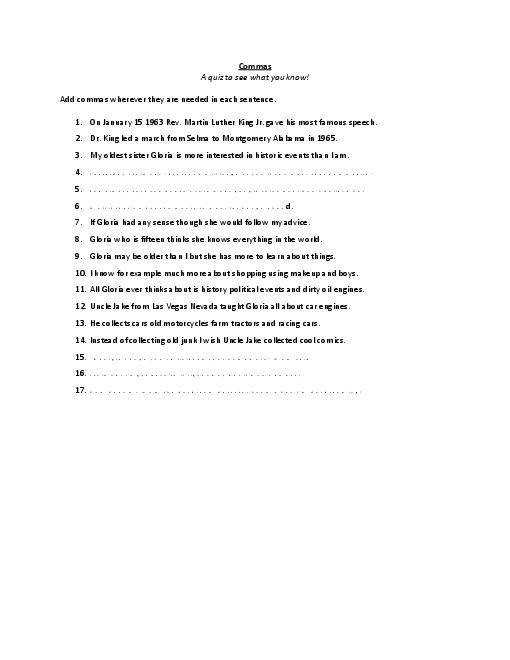 ma Worksheet with answer key