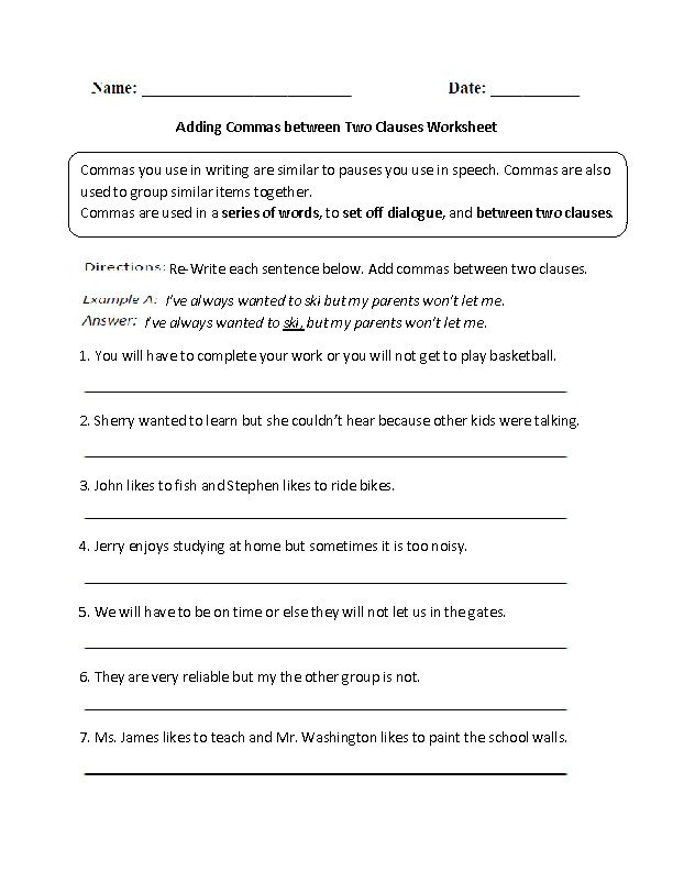 Adding mas between Two Clauses Worksheet