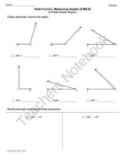 MD 6 Measuring Angles 4th Grade mon Core Math Worksheets