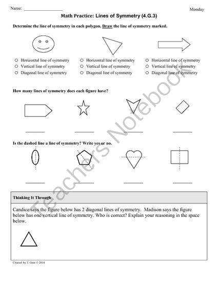 G 3 Symmetry 4th Grade mon Core Math Worksheets from