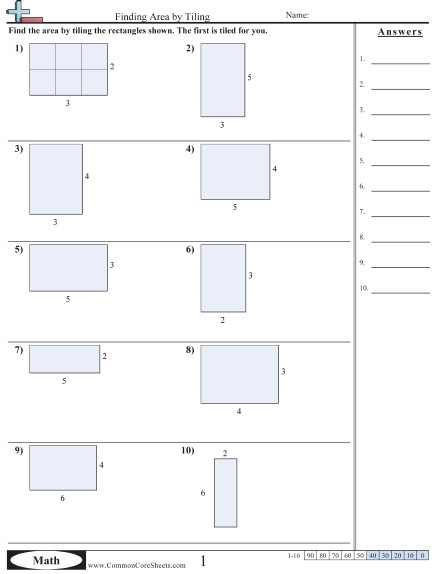 Area & Perimeter Worksheets mon core sheets