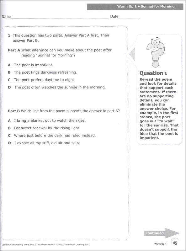 mon Core Reading Warm Ups and Test Practice Grade 7