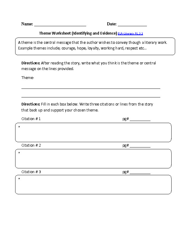 Central Message Worksheet 1 ELA Literacy RL 2 2 Reading Literature Worksheet