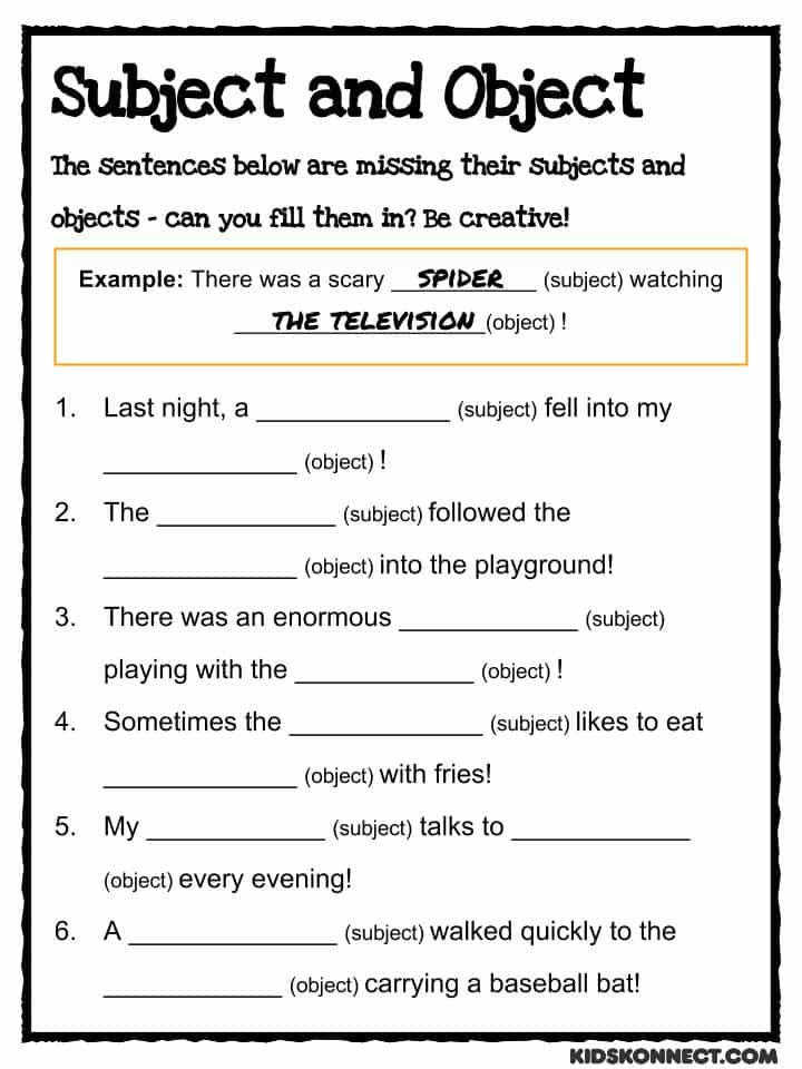 Download the Subject & Object Worksheet