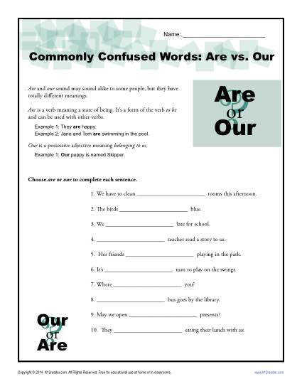Our – monly Confused Words Worksheet