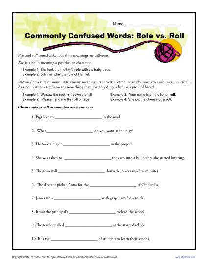 monly Confused Words Worksheet Role vs Roll
