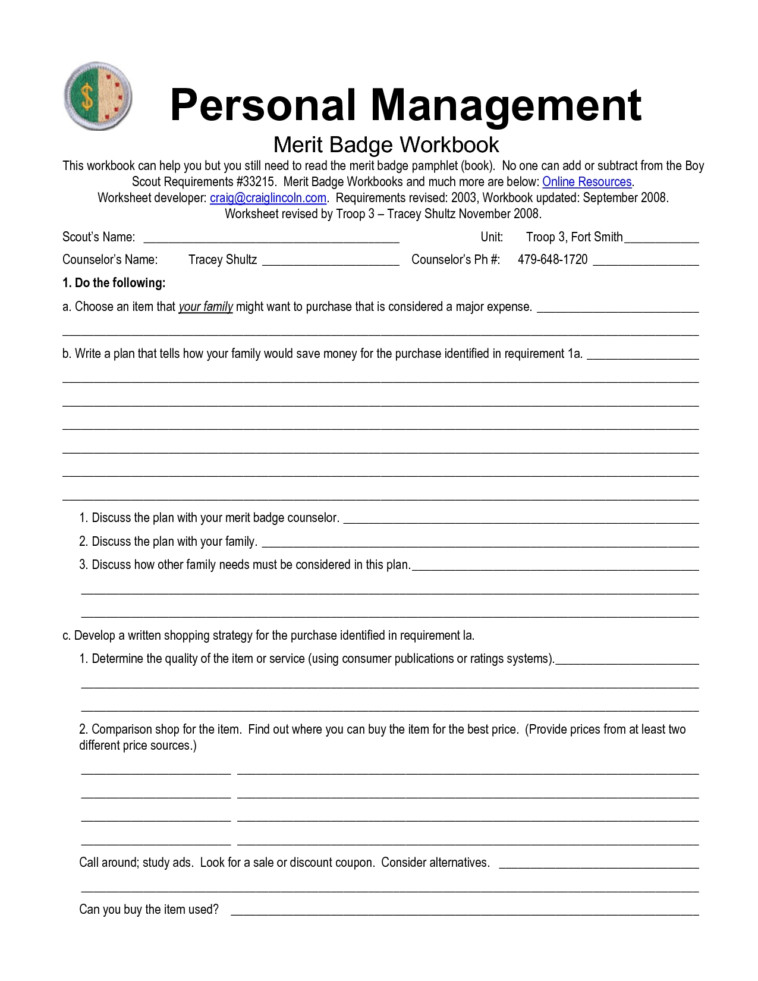 Ideas of Boy Scouts Merit Badges Worksheets With Summary Sample