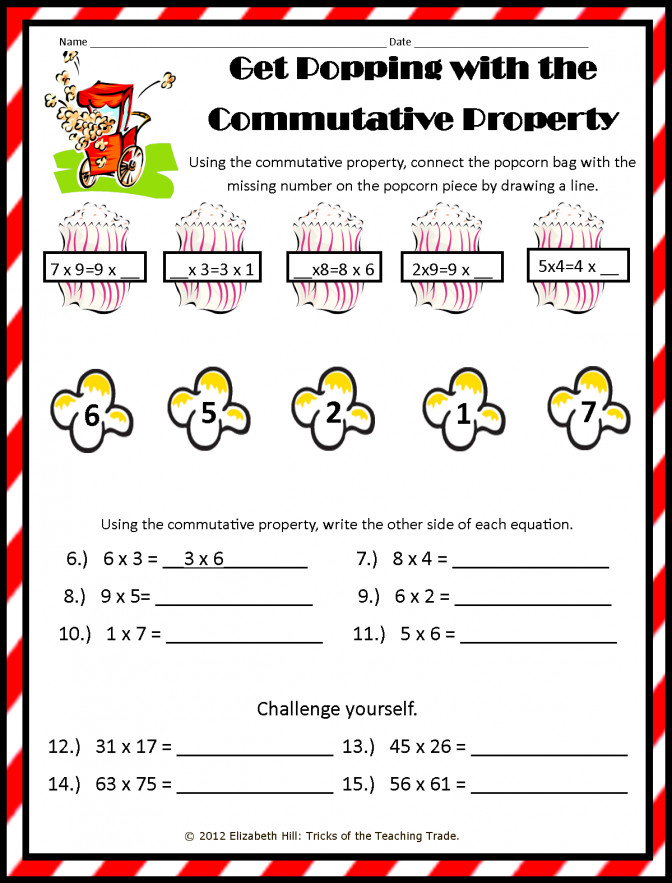 Tricks The Teaching Trade October 2012 mutative Property Multiplication Worksheets 3rd Grade Pic mutative Property