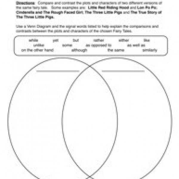 paring and Contrasting Worksheet 1