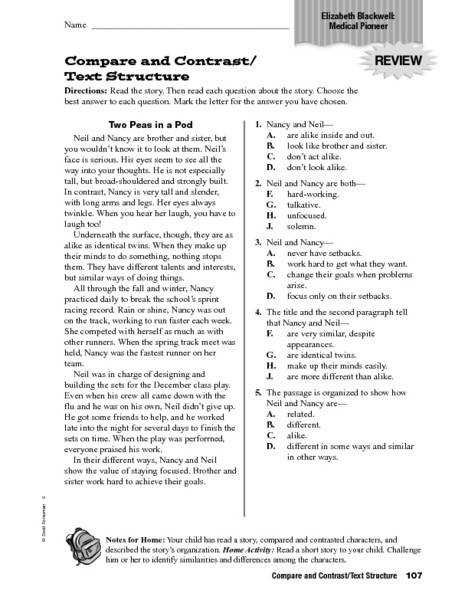 pare and Contrast Text Structure 4th 6th Grade Worksheet