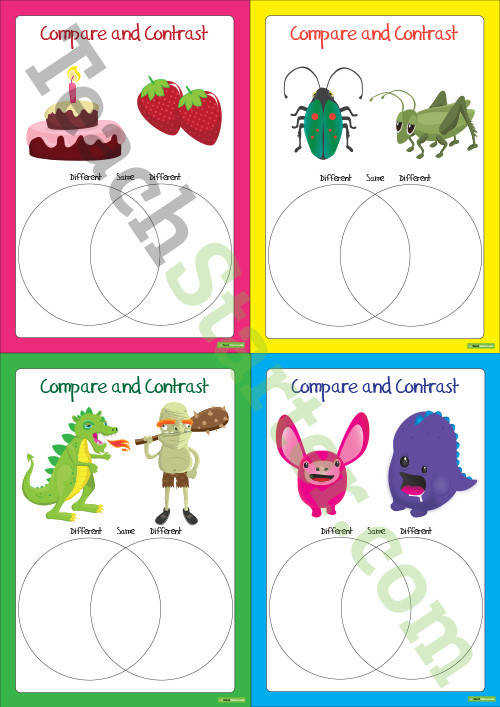 pare and Contrast Objects Worksheets Teaching Resource – Teach Starter