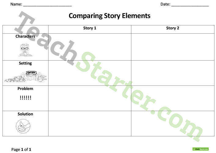 pare and Contrast – Story Elements Worksheet