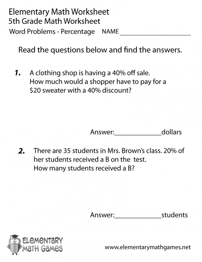 Fifth Grade Percentage Word Problems Worksheet Rounding Decimals 5th Prin paring Decimals Worksheet 5th Grade Worksheet