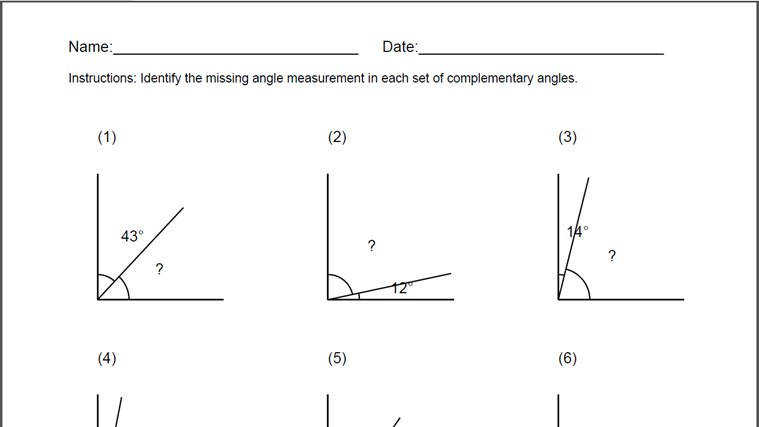 Worksheets plementary Angles Worksheets plementary angles worksheet for windows 8 app free on languages