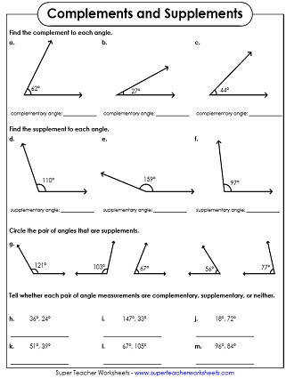 complementary and supplementary angles worksheets. Black Bedroom Furniture Sets. Home Design Ideas