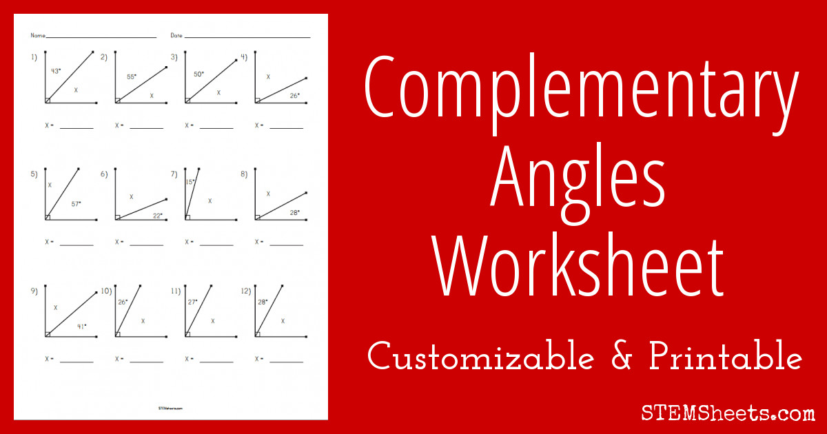plementary angles worksheet