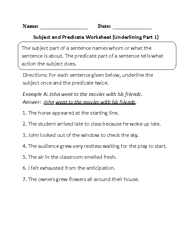Subject and Predicate Worksheet Underlining