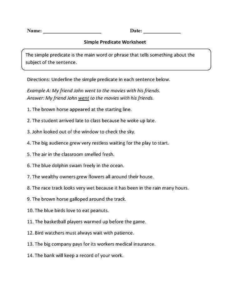 16 Best of Subject And Predicate Worksheets plete Subject and Predicate Worksheets Simple Subject and Predicate Worksheet Grade and Predicate