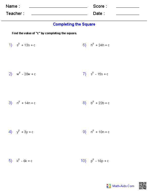 pleting the Square Quadratic Worksheets